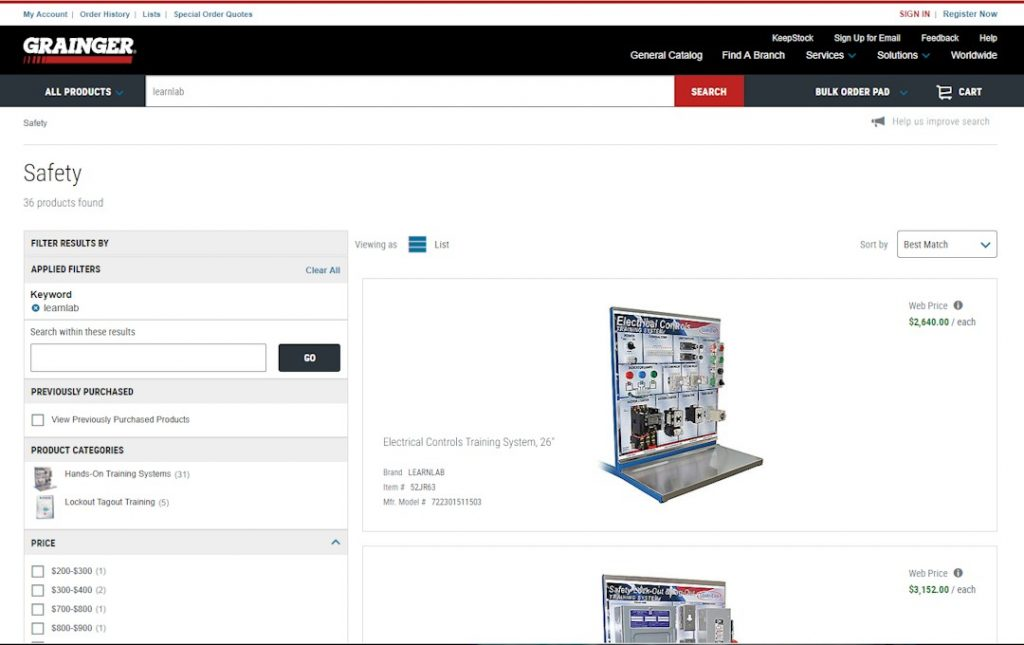 Grainger Learnlab Products page